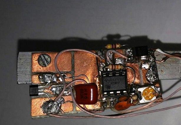 Макет схемы усиления сигнала датчика Холла