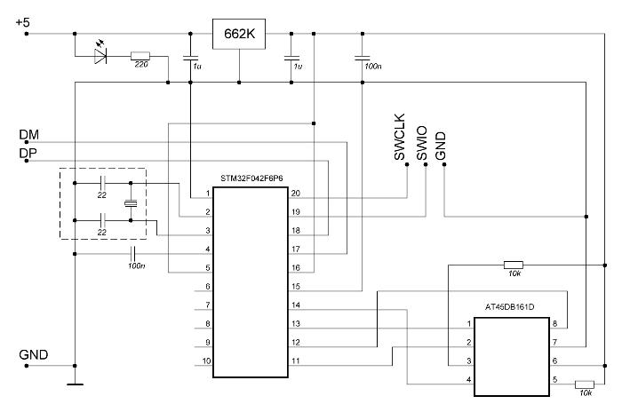 Схема электрическая принципиальная USB FLASH