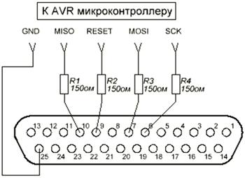 Резисторы R1, R2, R3, R4 необходимы для защиты от перегрузки порта.