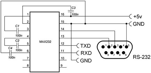 схема подключения MAX232: