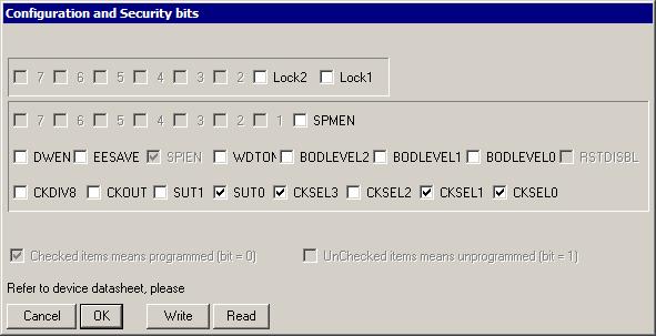 Фьюз-биты для PonyProg2000