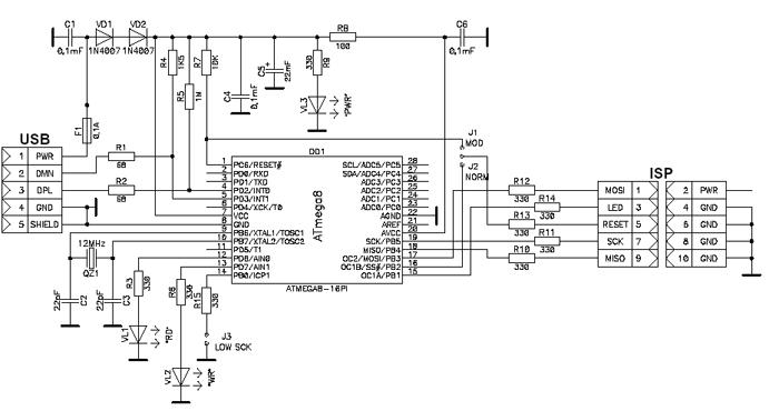 USB программатор AVR и AT89S