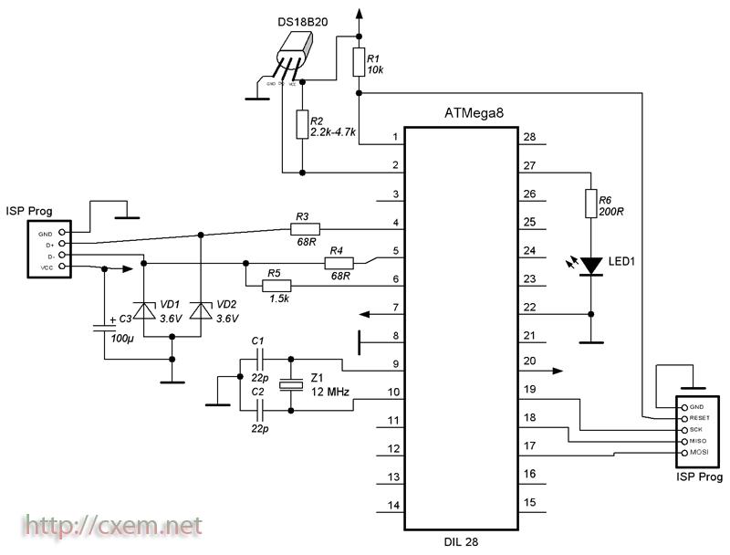 Схема USB термометра