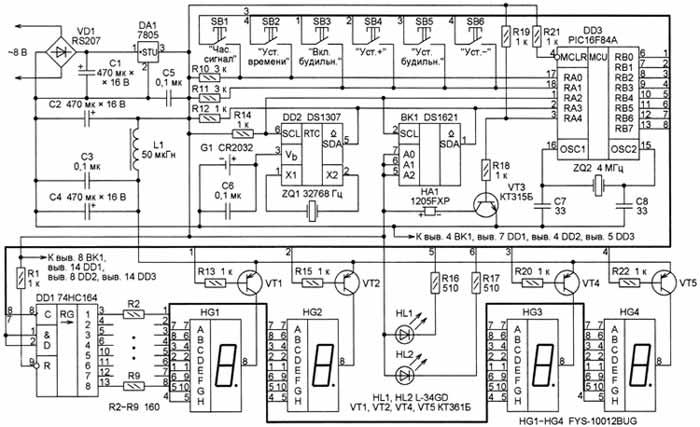 Микроконтроллер DD3 (PIC16F84A) инициализирует RTC DD2, читает и при.