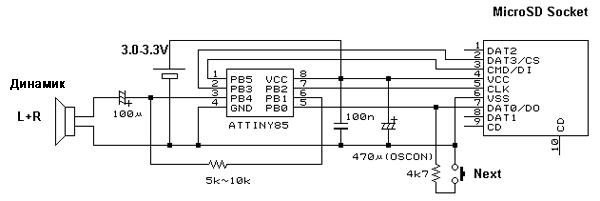 Третий вариант схемы SD-плеера
