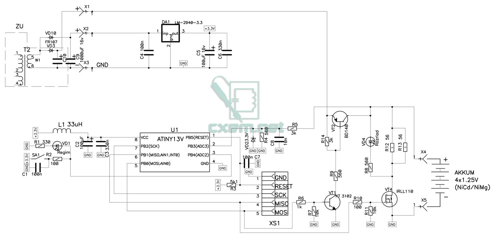 На схеме ZU - обозначена зарядка от NOKIA, с небольшими переделками: вторичная обмотка трансформатора была увеличена...