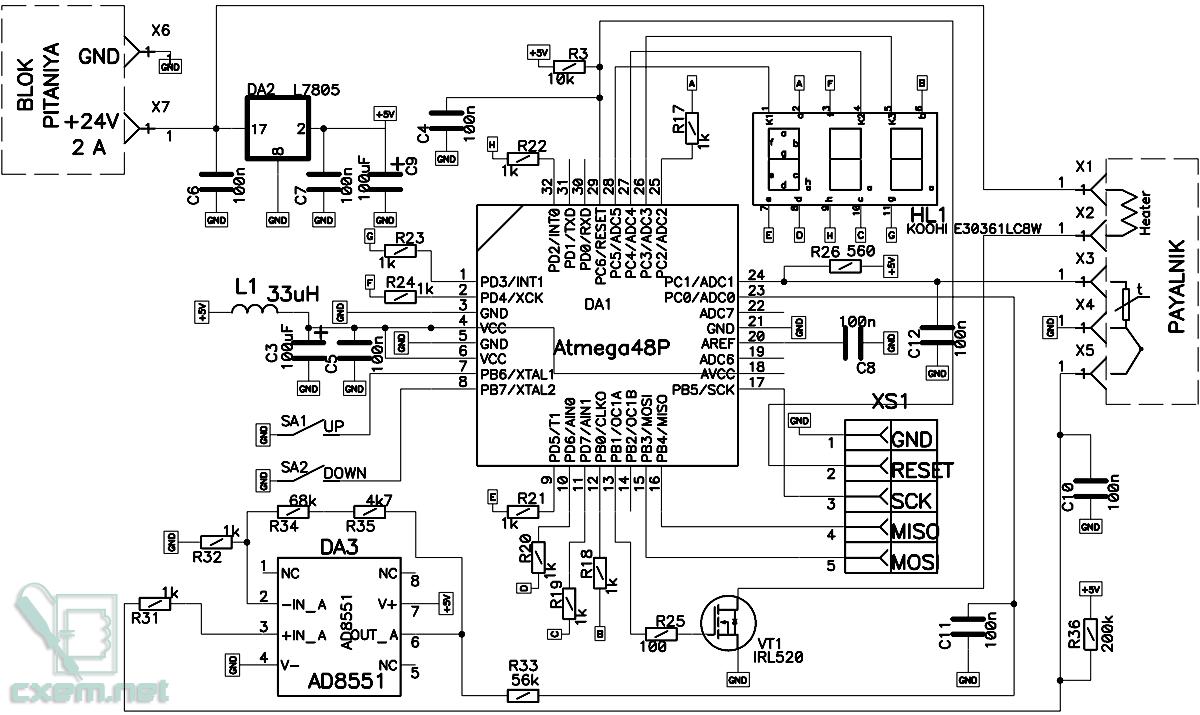 самодельный регулятор температуры схема монтажная плата