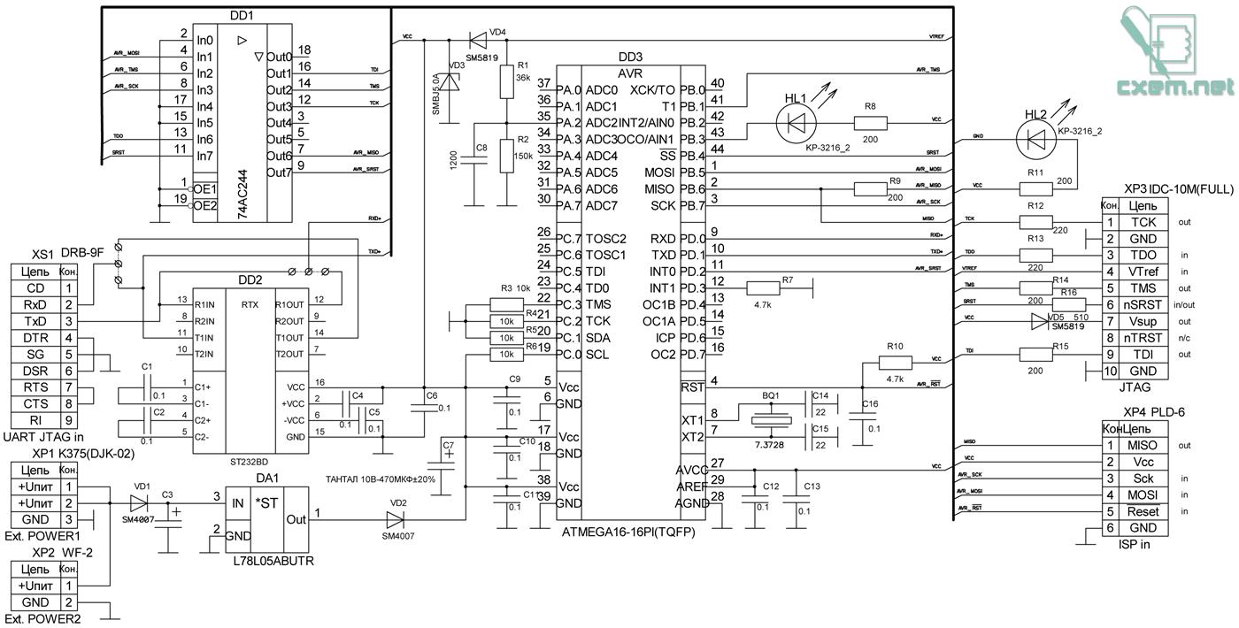 Принципиальная электрическая схема приведена на рис. 1. Основой данного JTAG служит микроконтроллер DD3 AVR ATMega16.