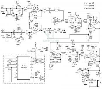 Схема прибора для регистрации биоэлектрических потенциалов человека