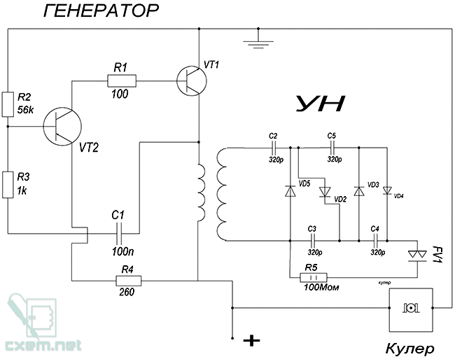 Схема озонатора воздуха на двух транзисторах