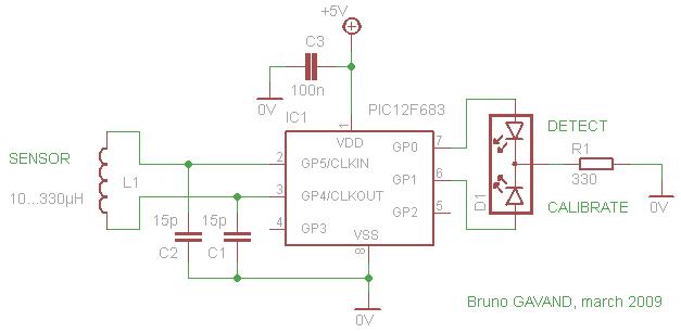 Схема детектора металла