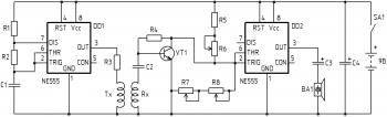 Принципиальная схема металлоискателя