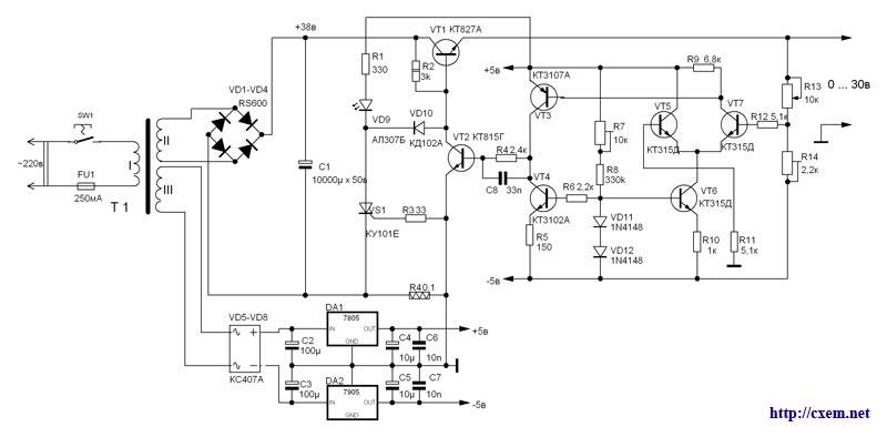 Блок питания 220/0-30 вольт 5 ампер с цифровой индикацией напряжения и тока.