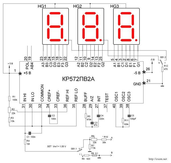 Цифровая панель индикации напряжения и тока