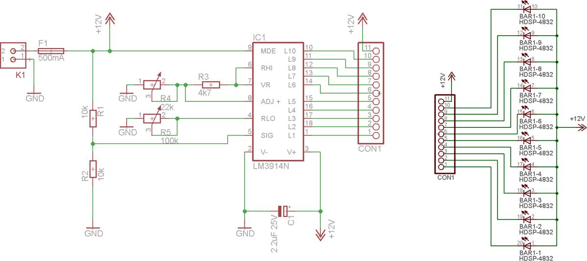 Схема индикатора на LM3914.  Нажмите для увеличения.