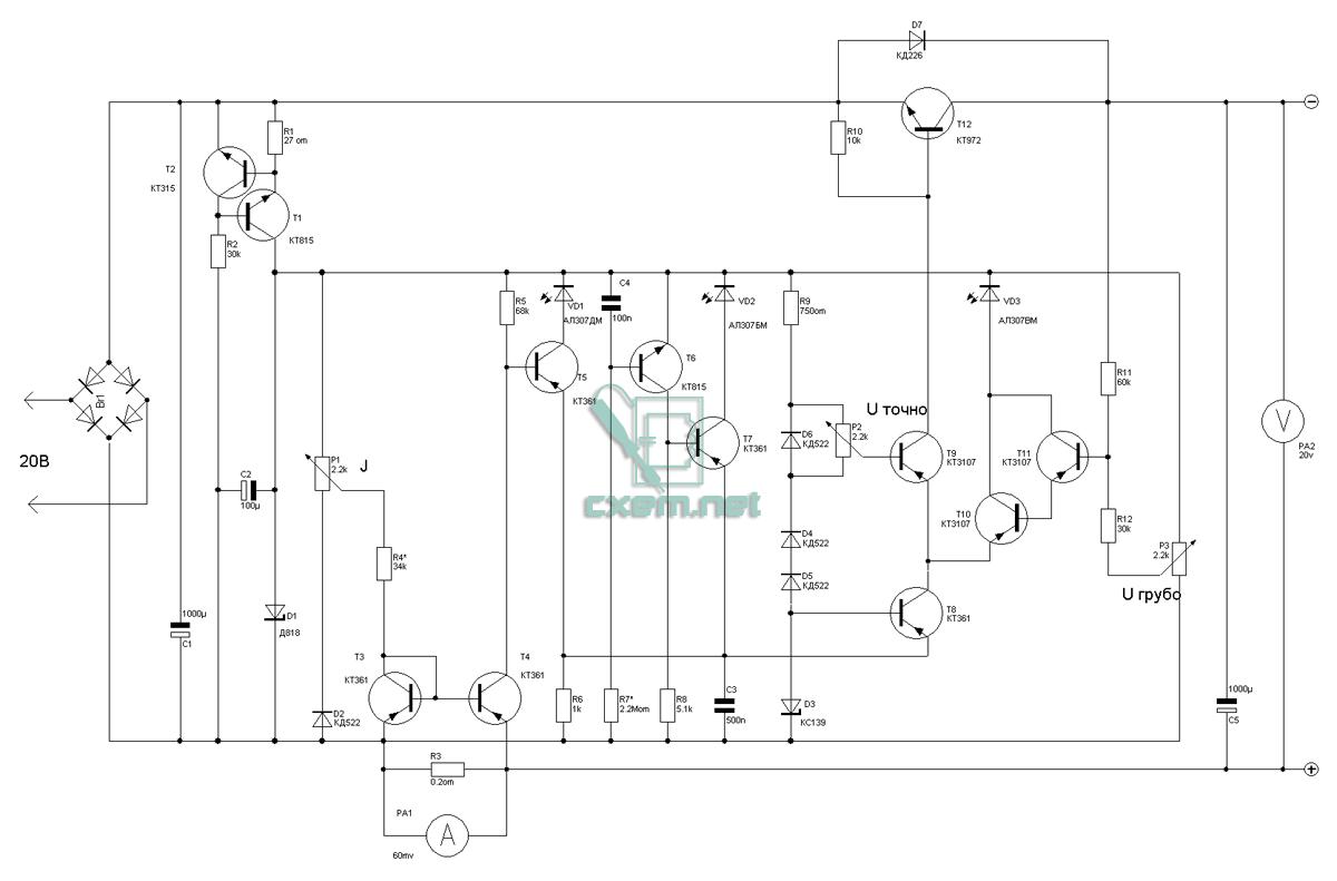 Принципиальная электрическая схема блока питания с электронная защита от перегрузки схема защиты от перегрузки блока...