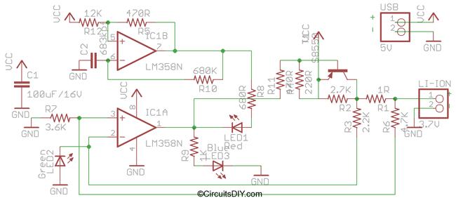 Схема USB зарядки Li-ion