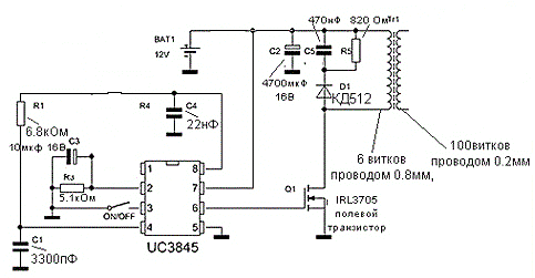 Преобразователь 12 - 220В схема устройства.