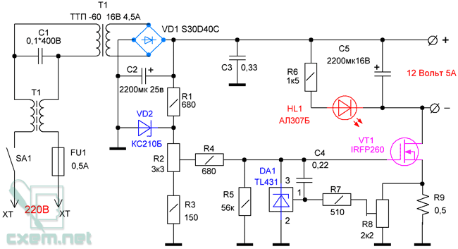Схема блока питания LCD
