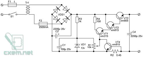 Схема простого блока питания на транзисторах