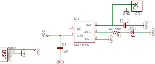 Схема зарядного устройства на MAX1555