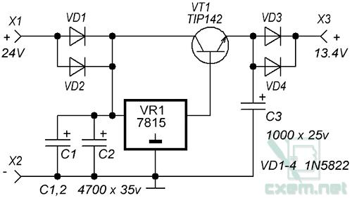 Схема инвертора 24в 12авто схемы.