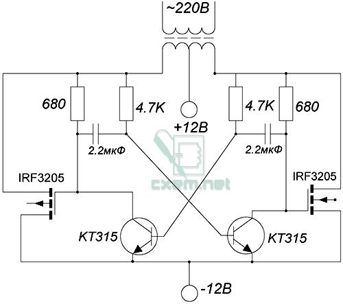 Схема простого преобразователя 12 - 220 Вольт