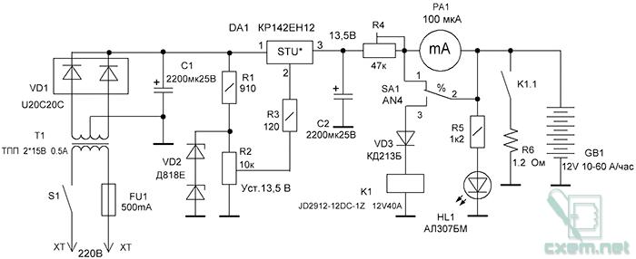 Схема устройства определения степени сульфатации аккумуляторов