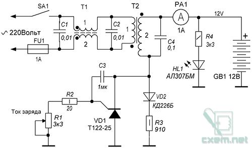 Принципиальная схема зарядного устройства состоит из силового трансформатора Т2 и защиты от перегрузки FU1.Снижение.