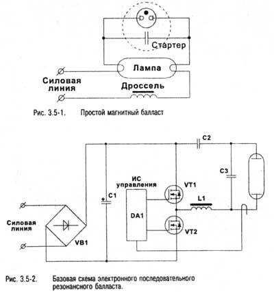 Схемы подключения ламп дневного света и люминесцентных ламп.