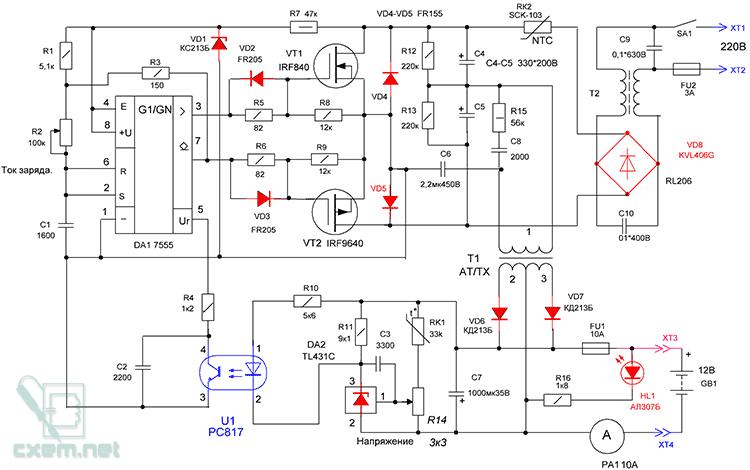 Схема инвертора для зарядки аккумуляторов