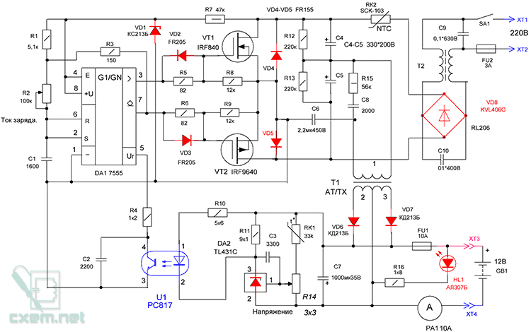 Схема инвертора для зарядки
