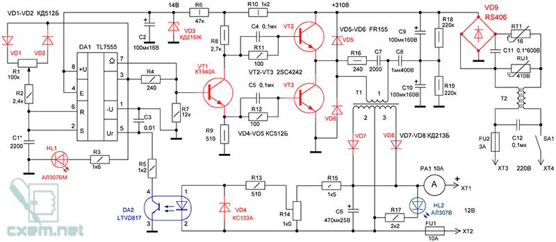 Схема полумостового инвертора