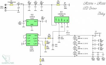 Схема светодиодного драйвера на LM2596 и LM358