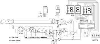 Схема блока питания с индикацией на PIC-микроконтроллере
