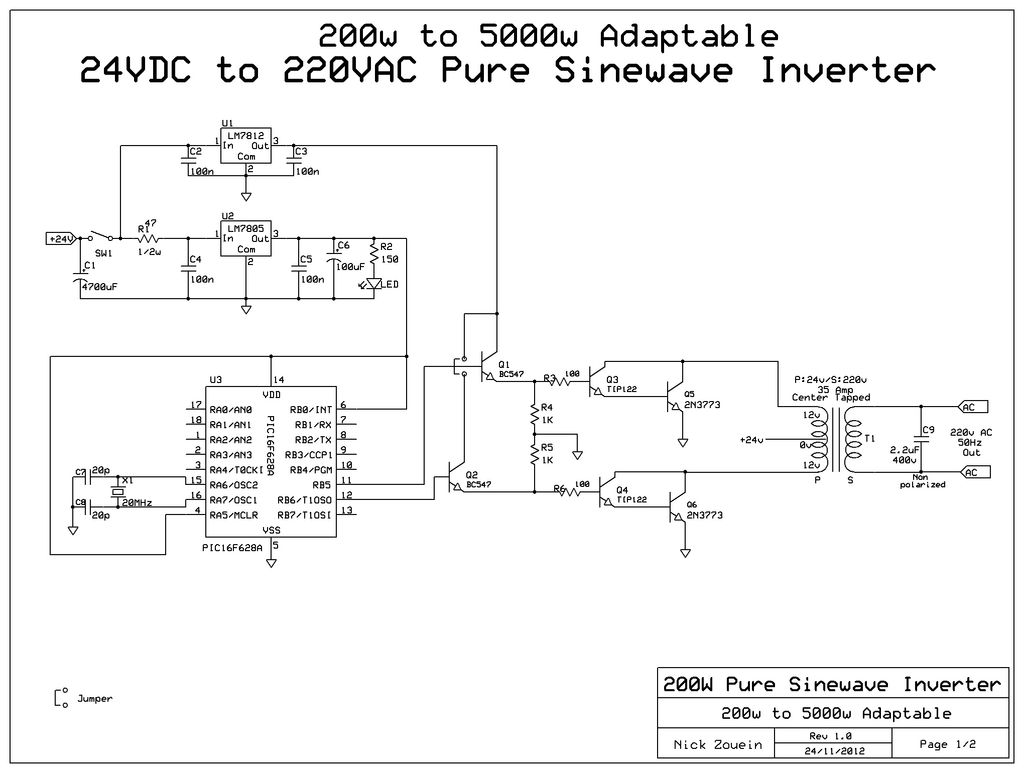 Адаптивный 24В DC/220В AC инвертор чистой синусоиды.