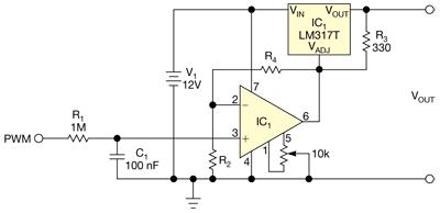 Схема управления LM317T от ШИМ сигнала