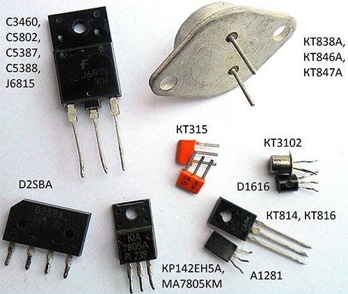 Используемые в схеме компоненты