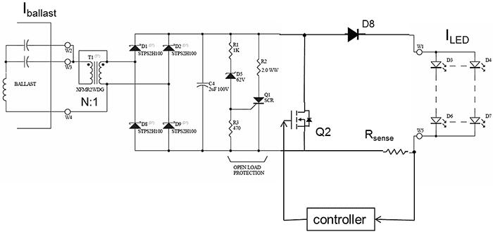 AC/DC преобразователь с активным токовым управлением светодиода