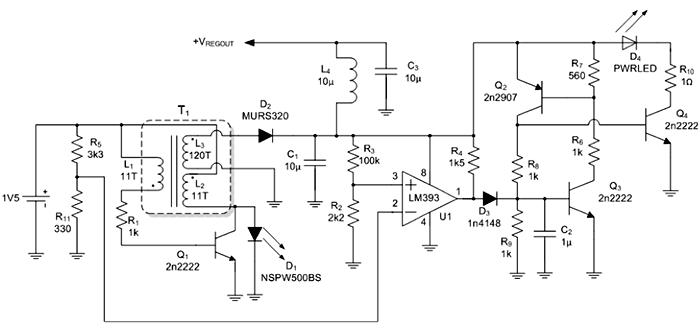 Электрическая схема преобразователя 1.5 В