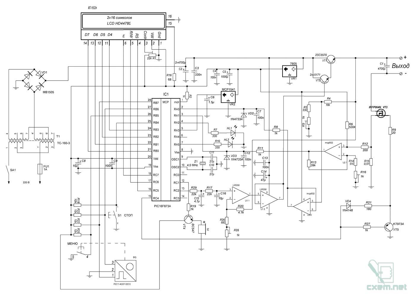 схема лабораторный блок питания на микроконтроллере