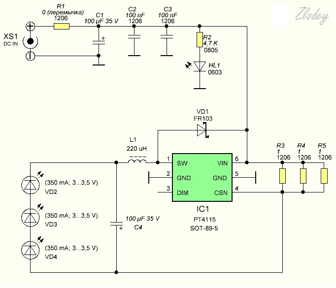 Драйвер pt4115 для мощного светодиода
