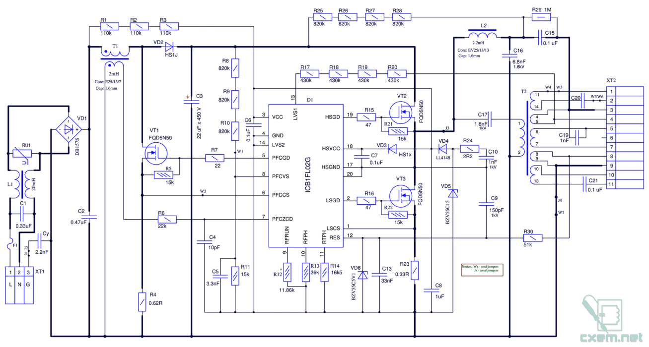 Эпра 2х36 принципиальная схема.