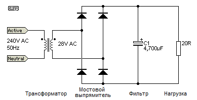 Рис. 1 Двухполупериодный выпрямитель со входным конденсаторным фильтром