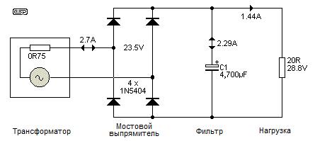 Рис. 2  Напряжения и токи в мостовом выпрямителе