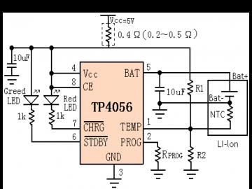 Типовая схема включения микросхемы TP4056