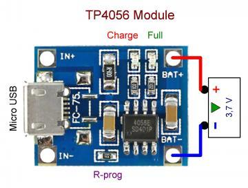 Схема подключения модуля зарядки TP4056