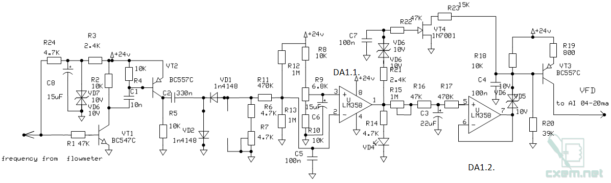 Схема ПИ регулятора с