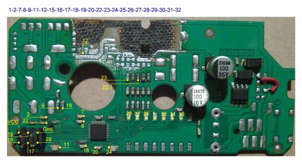 Плата электропривода Danfoss AME 120 NL с отмеченными выводами микроконтроллера