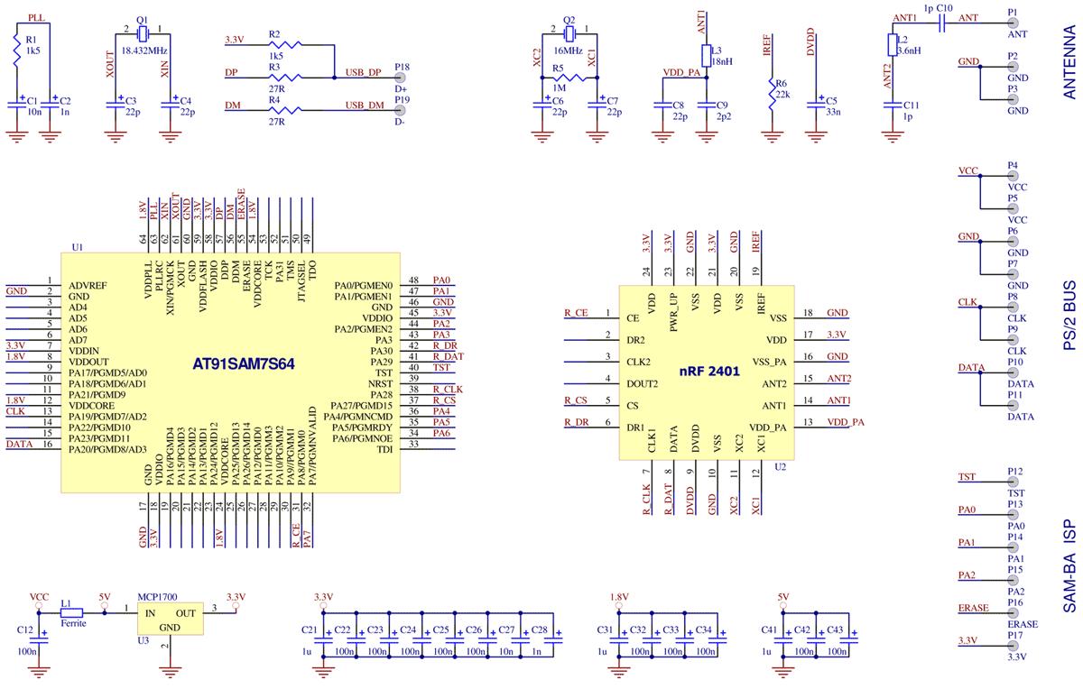 Принципиальная схема электрическая безпроводной клавиатуры.